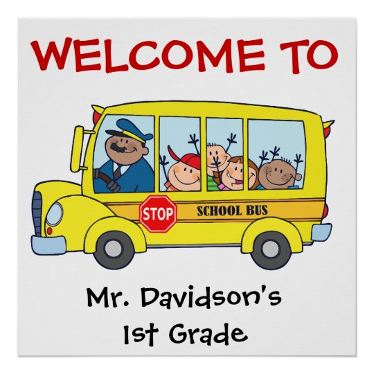 Custom Kids on the School Bus Welcome Poster