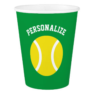 Custom kids tennis birthday party paper cups