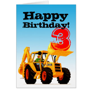 Custom Kid's Yellow Digger 3rd Birthday Card