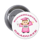 Custom Kindergarten Pink Girl Graduate Pinback Button