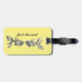 Custom Kissing Goldfish Luggage Tag