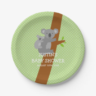 Custom koala bear polka dots baby shower plates