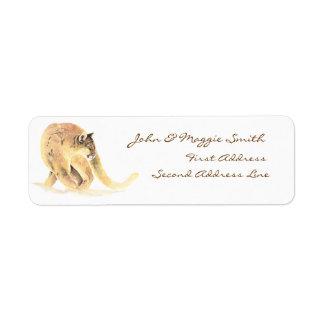 Custom Label Cougar, Puma, Mountain Lion, Animal Return Address Label