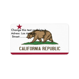 Custom Label with Flag of California, U.S.A. Address Label