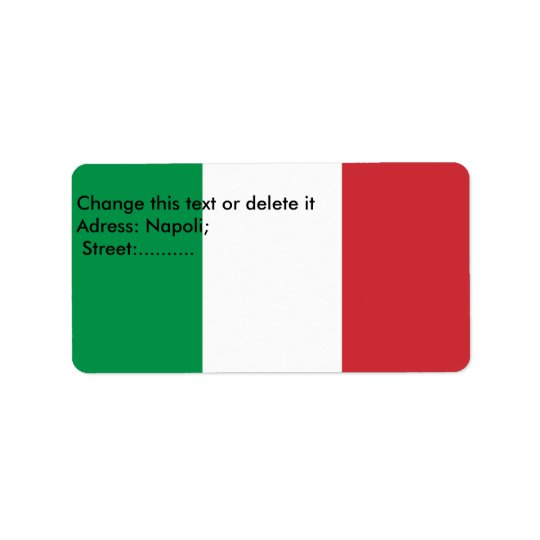 Custom Label with Flag of Italy Address Label