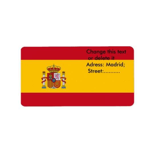 Custom Label with Flag of Spain Address Label