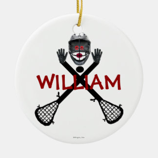 Custom Lacrosse Cartoon Christmas Ornament