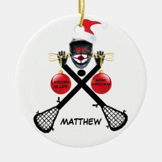 Custom Lacrosse Christmas Round Ceramic Decoration