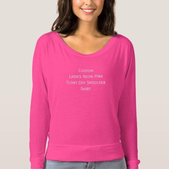 Custom Ladies Neon Pink Flowy Off Shoulder Shirt