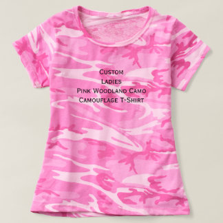 Custom Ladies Pink Woodland Camo Camouflage Tshirt