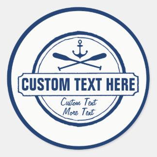 Custom Lake, Beach House & Boat Nautical Anchor Round Sticker