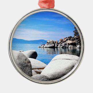Custom Lake Tahoe Sand Harbor Photograph Silver-Colored Round Decoration