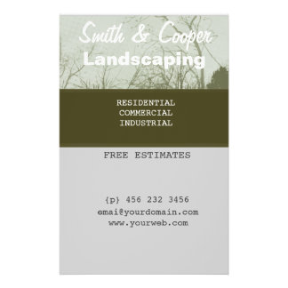 "Custom Landscaping Lawn Yard Gardening Care Mowing 5.5"" X 8.5"" Flyer"