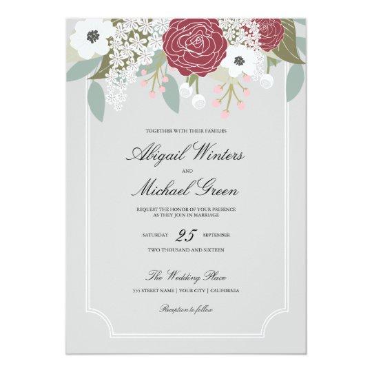 Custom Large Floral -Burgundy- Wedding Invitation