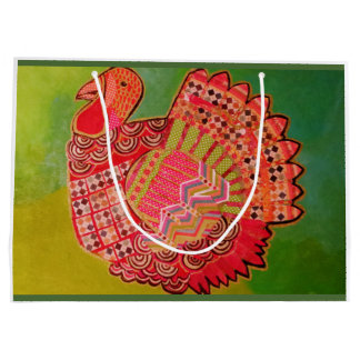Custom Large Gift Bag with Colorful Turkey