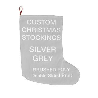 Custom Large SILVER GREY Christmas Stocking