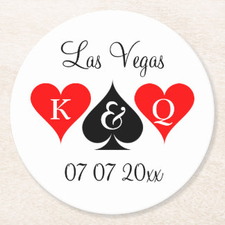 Custom Las Vegas poker wedding party coaster set
