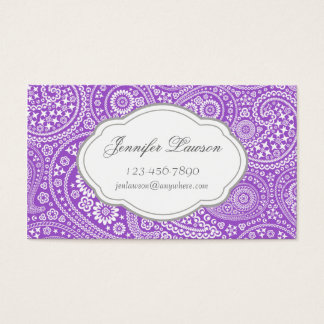 Custom Lavender Paisley Business Card Template