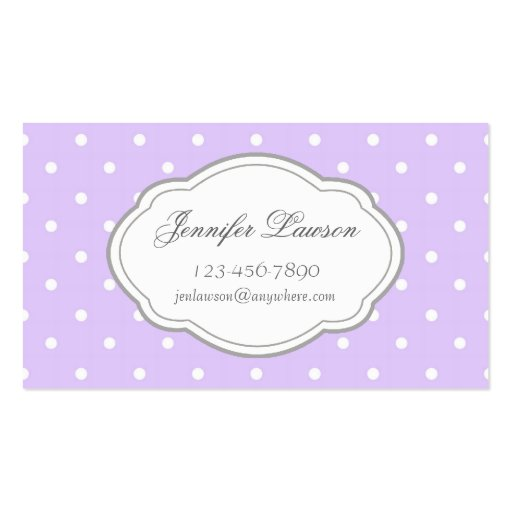 Custom lavender polka dot business card template zazzle for Polka dot business card templates free