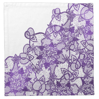 Custom lavender purple watercolor floral lace napkin