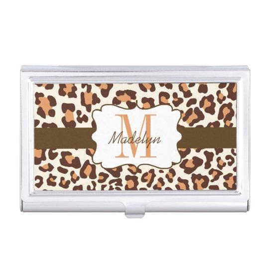 Custom Leopard Brown Tan Cream Business Card Case