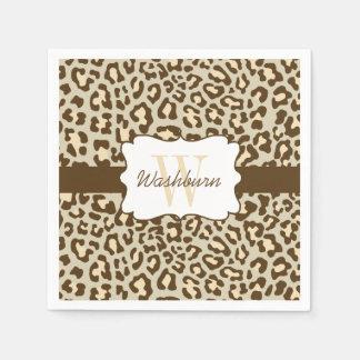 Custom Leopard Brown Tan Peach Cocktail Napkin Paper Napkin