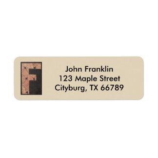 Custom Letter F Return Address Label