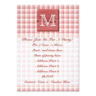 Custom Letter. Picture of Wood and Check Pattern. 13 Cm X 18 Cm Invitation Card