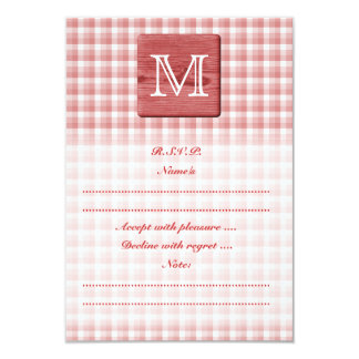 Custom Letter. Picture of Wood and Check Pattern. 9 Cm X 13 Cm Invitation Card