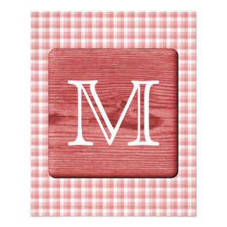 Custom Letter. Picture of Wood and Check Pattern. Flyer
