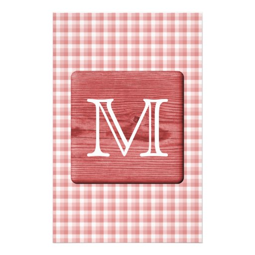 Custom Letter. Picture of Wood and Check Pattern. Flyer Design