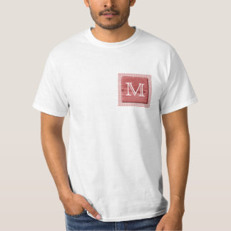 Custom Letter. Picture of Wood and Check Pattern. T-Shirt