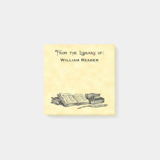 Custom Library Of Vintage Books and Writing Quill Post-it Notes