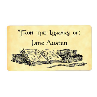 "Custom ""Library Of"" Vintage Books Label Shipping Label"