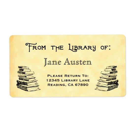 "Custom ""Library Of"" Vintage Books Labels"