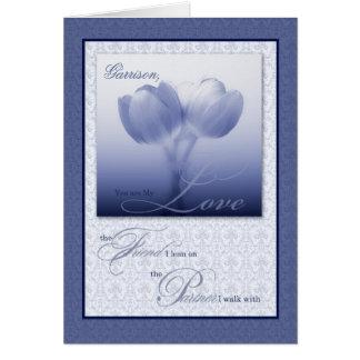 Custom Life Partner Birthday Blue Tulips Cards