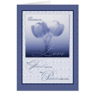 Custom Life Partner Birthday Blue Tulips Greeting Card