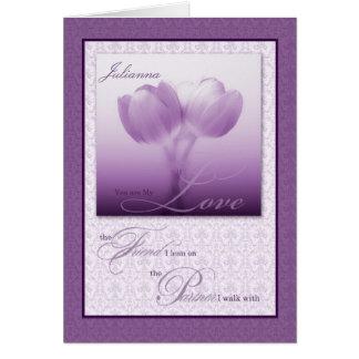 Custom Life Partner Birthday Purple Tulips Card
