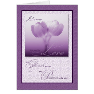 Custom Life Partner Birthday Purple Tulips Greeting Card