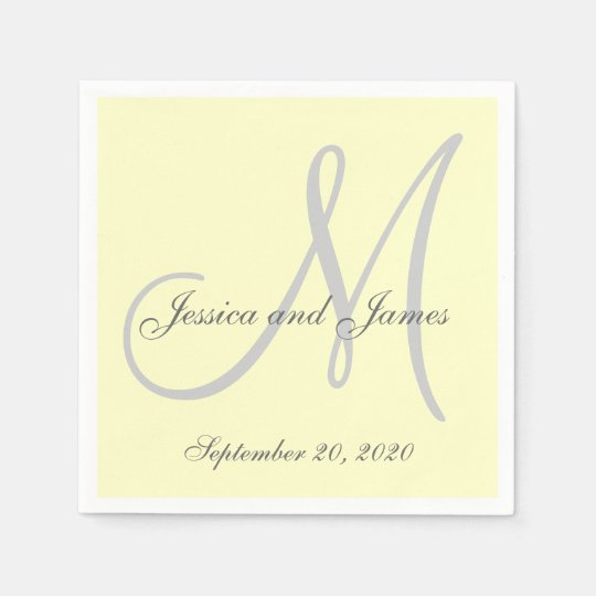 Custom Light Yellow Coloured Monogram Paper Paper Serviettes