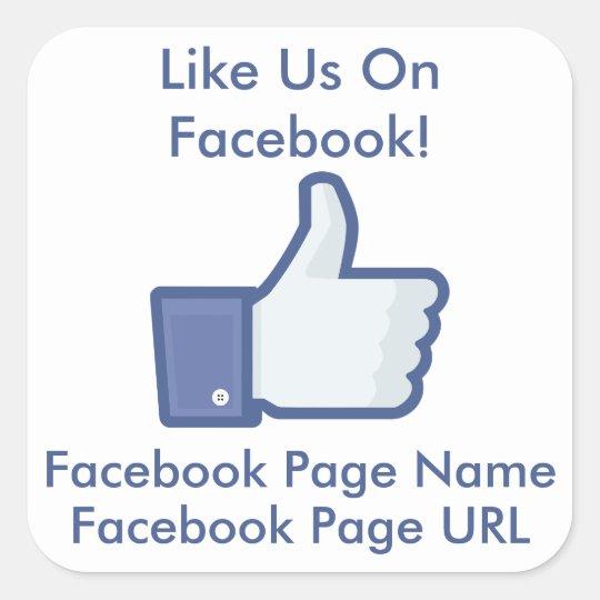 Custom Like Us On Facebook Business Window Square