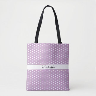 Custom Lilac Tote Bag with White Polka Dots