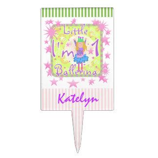 Custom Little Ballerina 1st Birthday Cake Topper