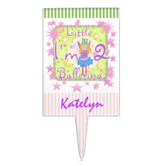 Custom Little Ballerina 2nd Birthday Cake Topper
