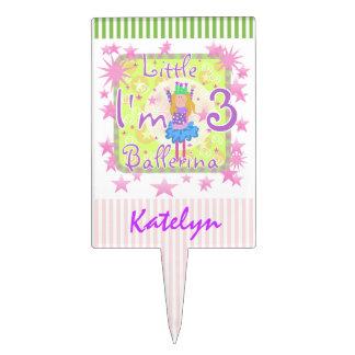 Custom Little Ballerina 3rd Birthday Cake Topper