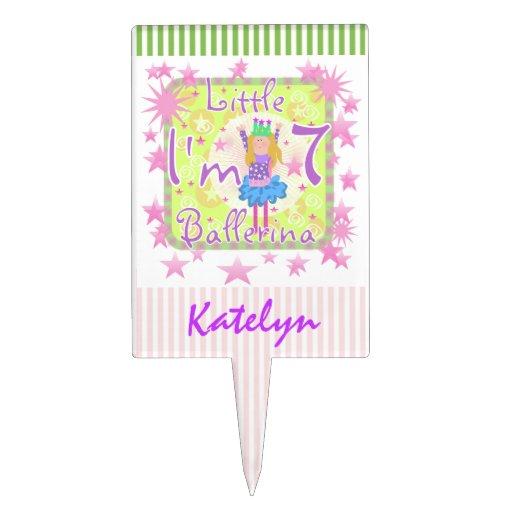 Custom Little Ballerina 7th Birthday Cake Topper