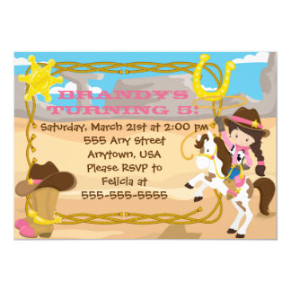 Custom Little Cowgirl birthday invitation