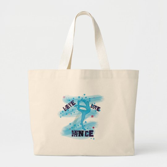 Custom Live Love Dance Blue Dancer Large Tote Bag