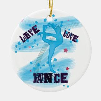 Custom Live Love Dance Blue Dancer Round Ceramic Decoration