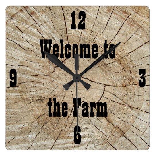 Custom, Log Cabin, Country, Farm Square Wall Clock